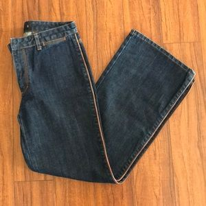 J. Crew Denim Jeans With Leather Piping - Size 6